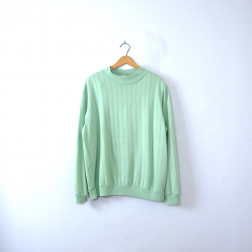 Vintage 80's seafoam pastel green long sleeved sweatshirt, women's size large