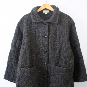 Vintage 90's charcoal grey wool cardigan sweater, women's size large