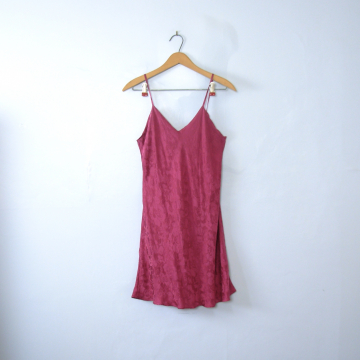 Vintage 90's raspberry red lingerie silk slip, real silk, size medium