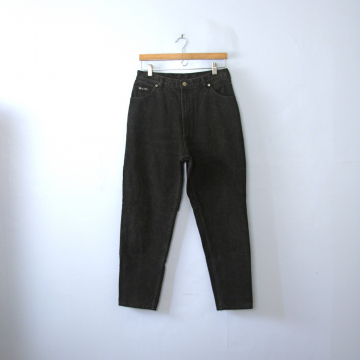 Vintage 80's Lee high waisted jeans, black denim mom jeans, tapered leg, size 14 / 12