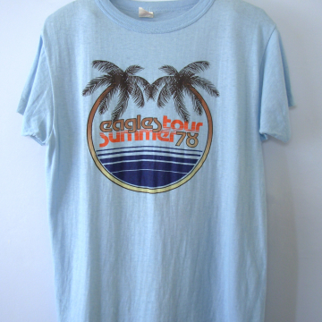 Vintage 70's rare Eagles shirt Summer Tour band tee, size large / medium