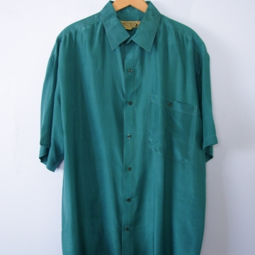Vintage 90's teal green silk satin button up shirt with pocket, men's size medium