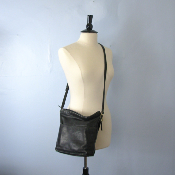 Vintage 90's Coach bucket bag, black leather crossbody purse