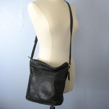 Vintage 90's Coach bucket bag, black leather crossbody purse