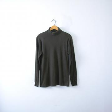 Vintage 90's plain black turtleneck, long sleeved shirt, men's size medium / small