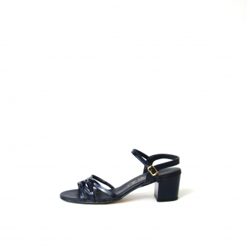Vintage 60's navy blue sandals with ankle strap, women's size 7
