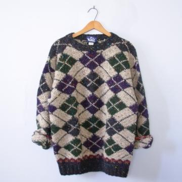 Vintage 80's Woolrich wool argyle sweater, men's size medium