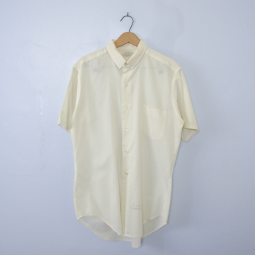 Vintage 50's cream button up short sleeve shirt with pocket, men's size small