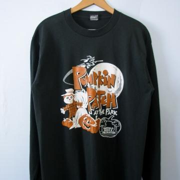 90's Fairfield Halloween black long sleeved shirt, men's large