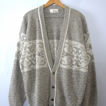 Vintage 80's grey wool oversized cardigan sweater, men's size large