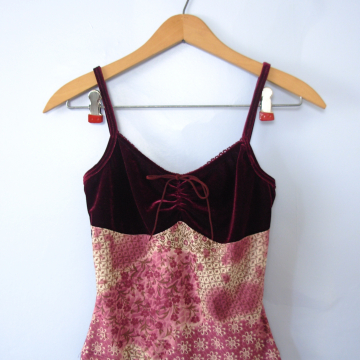 Vintage 90's red velvet cami, cropped top, size xs