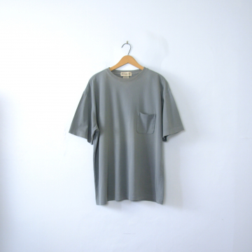 Vintage 90's faded blue grey tee with pocket, size large