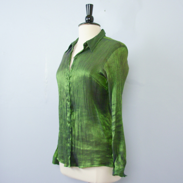 90's metallic jade green long sleeved blouse, women's size large / medium