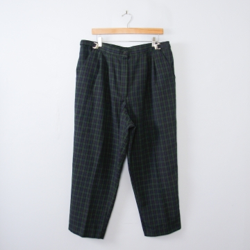 Vintage 90's green plaid pleated pants with tapered leg, women's size 16