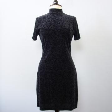 90's black velvet mini dress, women's medium