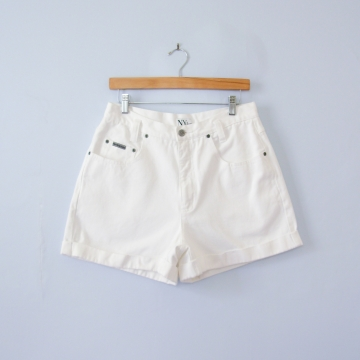 90's NY high waisted white denim shorts, women's size 10 / 12
