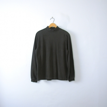 Vintage 90's plain black mock turtleneck, long sleeved shirt, men's size medium