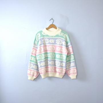 Vintage 80's Fairy Kei pastel sparkle sweater, women's size large