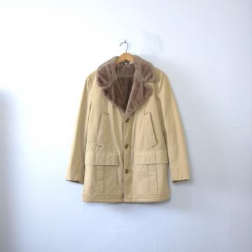 Vintage 70's beige rancher's coat, men's size 40 / medium
