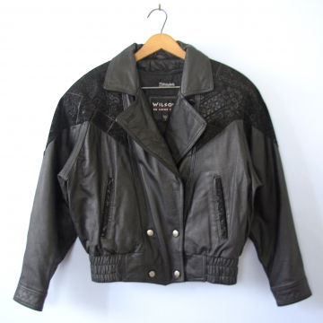 Vintage 80's oversized black leather jacket with shoulder pads, women's size small