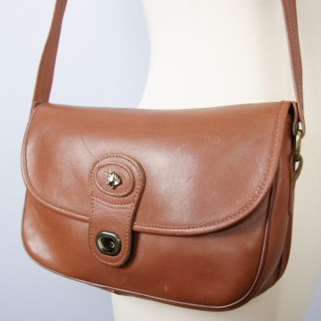 Vintage 70's Unicorn brown leather shoulder bag