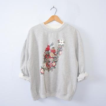 Vintage 90's cute birds Christmas sweatshirt pullover, men's size large