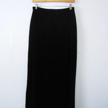 90's long black velvet skirt, women's medium