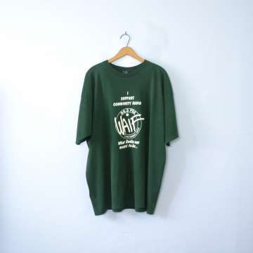 Vintage 90's graphic tee, Waif Community Radio Cincinnati Ohio green shirt, size XL