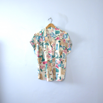 Vintage 80's abstract rose print blouse, women's size XL / 18
