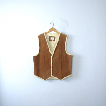 Vintage 90's tan suede and sherpa vest, leather western vest, size large