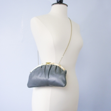 Vintage 70's grey leather small shoulder bag and clutch