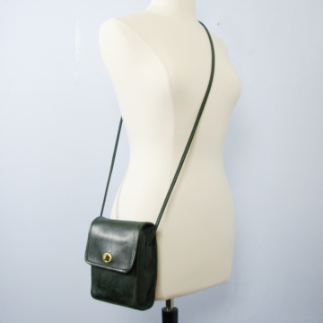 Vintage 90's Coach Scooter bag dark green leather crossbody purse