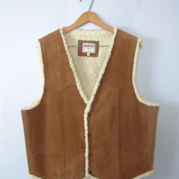 Vintage 90's tan suede and sherpa vest, leather western vest, size large
