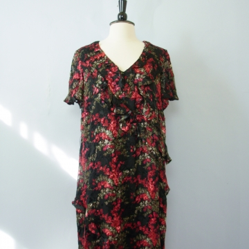 Y2K romantic rose floral silk dress, women's size 1X