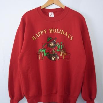 Vintage 90's cute teddy bear Christmas sweatshirt pullover, men's size large