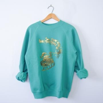Vintage 80's cute teal Christmas sweatshirt, men's size medium