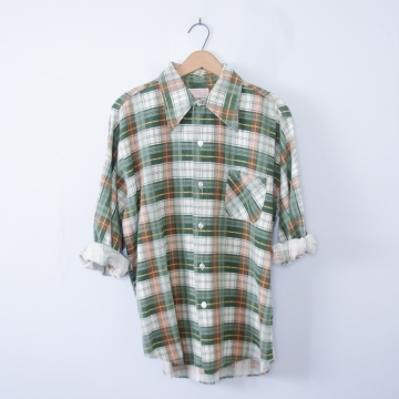 Vintage 70's faded green plaid flannel button up shirt, men's size large