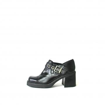 Vintage 90's Harley Davidson black chunky heel ankle boots, women's size 7