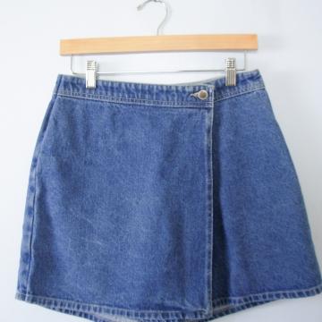 Vintage 90's Route 66 blue denim skort, women's size 10 / 8