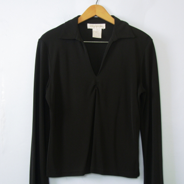 90's black long sleeved top, women's size small