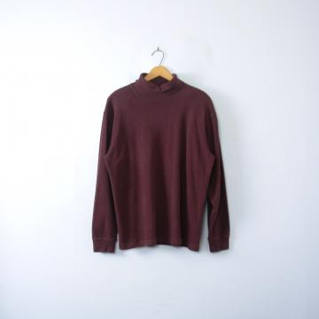Vintage 90's plain mauve wine turtleneck long sleeved shirt, men's size medium