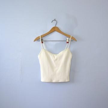 Vintage 90's Ralph Lauren cropped tank top, white swimsuit top, women's size 12