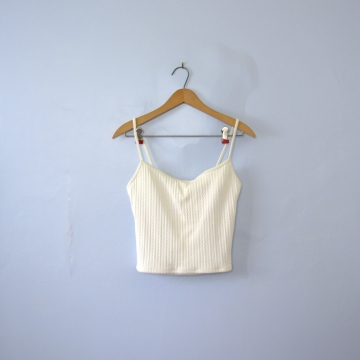 Vintage 90's Ralph Lauren cropped tank top, white swimsuit top, women's size 12