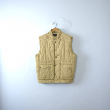 Vintage 80's quilted beige puffy vest with removable hood, size XL