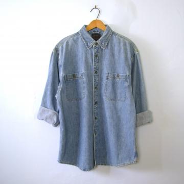 Vintage 90's light blue denim shirt, chambray button up shirt, size medium