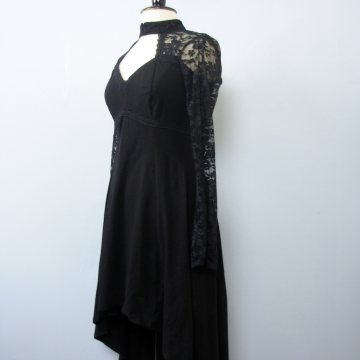 Y2K Tripp black and lace gothic hi low dress, women's medium