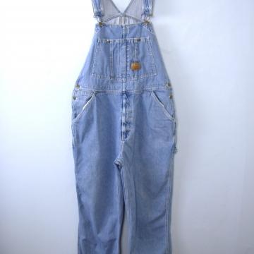 Vintage 90's light denim carpenter overalls, size 40 / large / XL