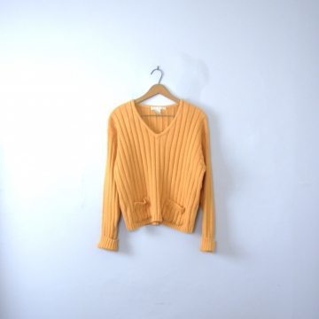 Vintage 80's butterscotch yellow ribbed knit cropped sweater, women's size large