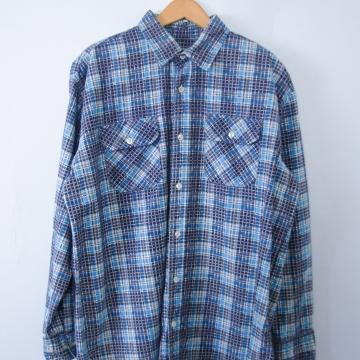 Vintage 80's blue plaid flannel button up shirt, men's size large