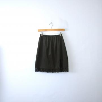 Vintage 80's black silky slip skirt with lace trim and side slit, size medium
